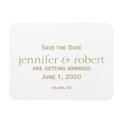 Simple Modern Gold Metallic Save the Date Magnet