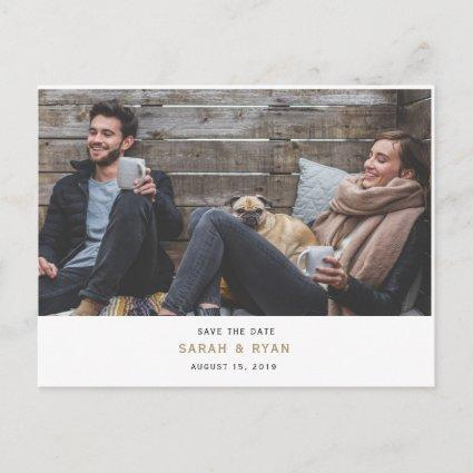 Simple Modern Gold Photo Save the Date Card