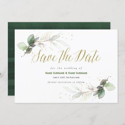Simple, Modern, Greenery, Save The Date Invitation