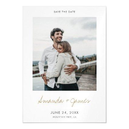 Simple Modern Minimalist Gold Save the Date Magnetic Invitation