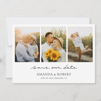Simple Modern Multi Photo Collage Save the Date