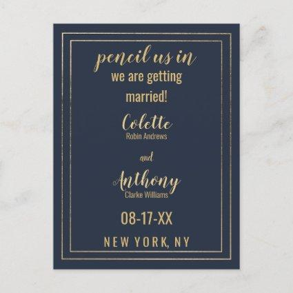 Simple Modern Navy Blue Gold Save The Date Announcement