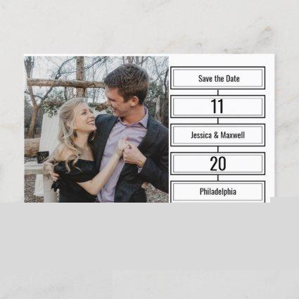 Simple Modern Photo BW Text Wedding Save the Date Announcement