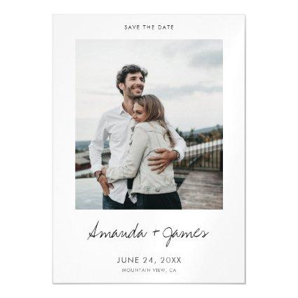 Simple Modern Photo Custom Wedding Save the Date Magnetic Invitation