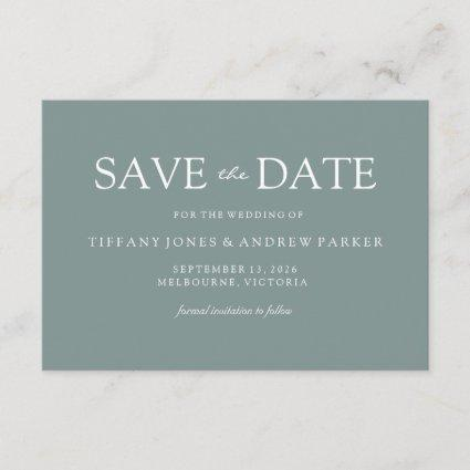Simple Modern Sage Green Wedding Save the date