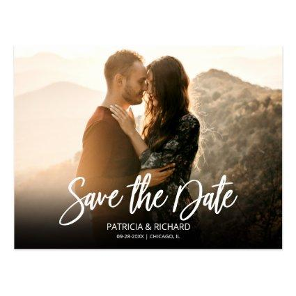 Simple Modern Script Wedding Save The Date Photo