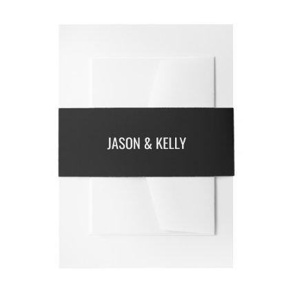 Simple monochrome wedding invitation belly band