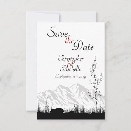 Simple Mountain Scene Black, White and Red Wedding Save The Date