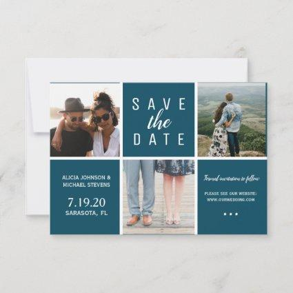 Simple navy blue white 3 photo collage wedding save the date