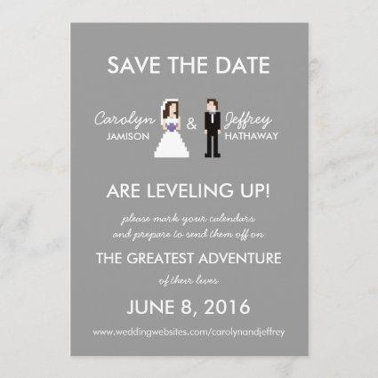 Simple, Nerdy 8-Bit Bride & Groom Save the Dates Save The Date