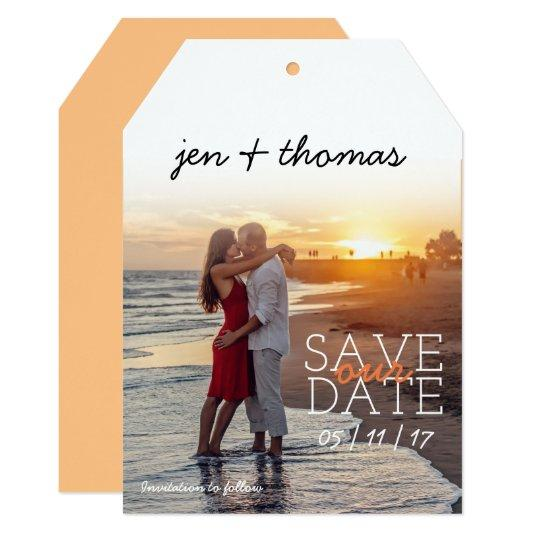 Simple Personalized Photo Tag Save Our Date Card