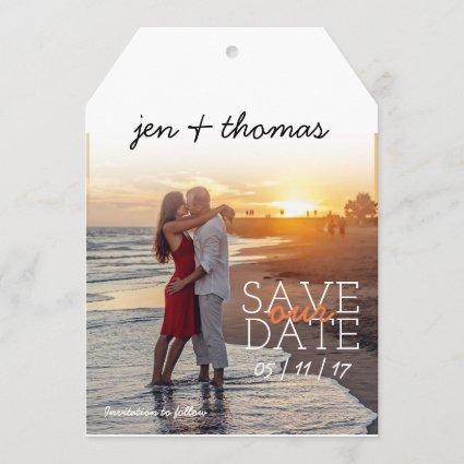 Simple Personalized Photo Tag Save Our Date Save The Date