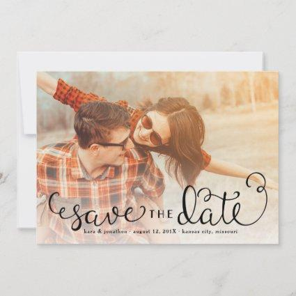 Simple Photo Save the Dates, Hand Lettered Script Save The Date