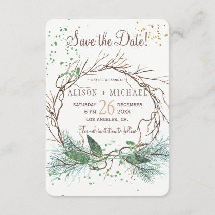 Simple photo winter wreath save date wedding save the date