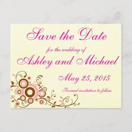 Simple Pink and Brown Wedding Save the Date Announcement