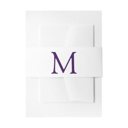 Simple purple and white monogram invitation belly band