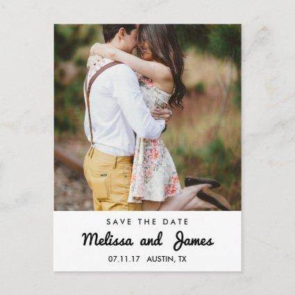Simple  Retro Handwritten Font Photo Save The Date Announcement