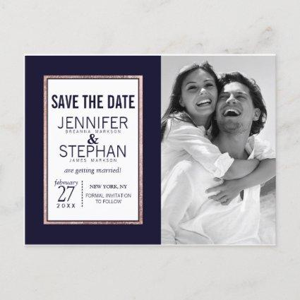 Simple Rose Gold Lined Navy Blue Save the Dates Announcements