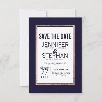 Simple Rose Gold Lined Navy Blue Wedding Save The Date