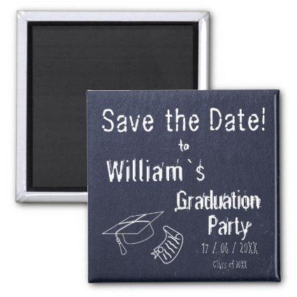 Simple Rustic Blue Stone Graduation Magnets