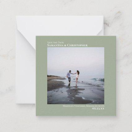 Simple Sage Green Wedding Save the Date Photo Mini Note Card
