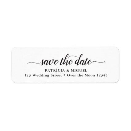 Simple Save Date Chic Script Modern Calligraphy Label