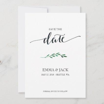 Simple Save the Date Card - Calligraphy and leaves