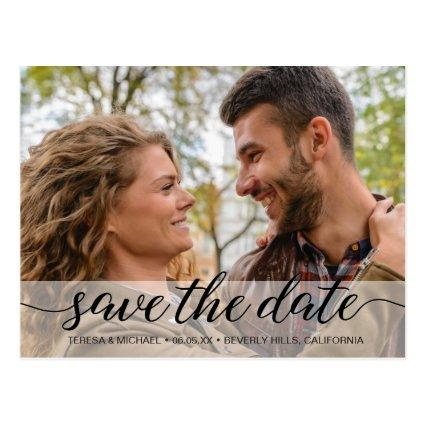 Simple Script Save the Date | Engagement Photo