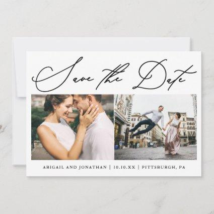 Simple Script Two Photo Modern Save The Date