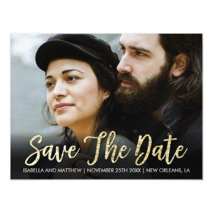 Simple Sparkly Gold Glitter Save The Date Pic Magnetic Invitation