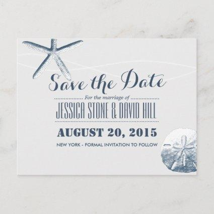 Simple Starfish & Sand Dollar Save the Date Announcement