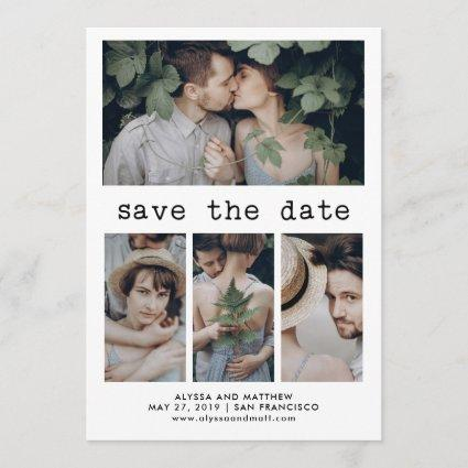 Simple Typewriter Text Save the Date | 4 Photo
