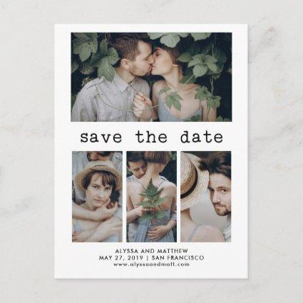 Simple Typewriter Text Save the Date | 4 Photo Announcement