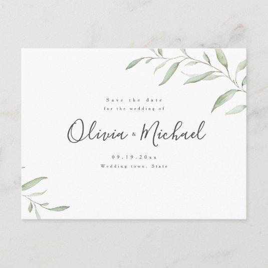 Simple watercolor botanical greenery save the date announcement