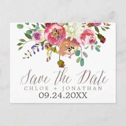 Simple Watercolor Bouquet Wedding Save the Date Announcement