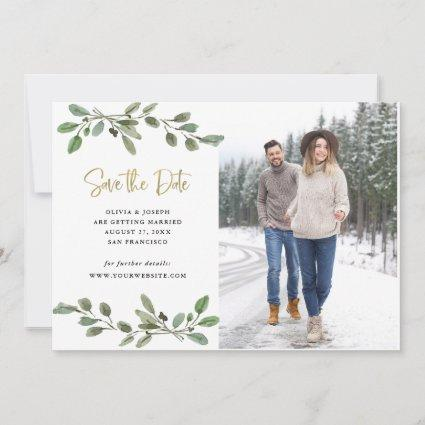 Simple Watercolor Greenery and Gold Photo Save The Date
