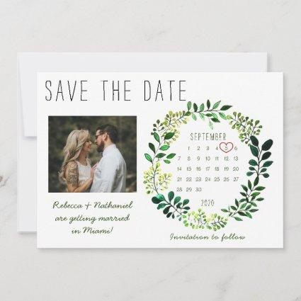 Simple Watercolor Greenery Wedding Photo Calendar Save The Date