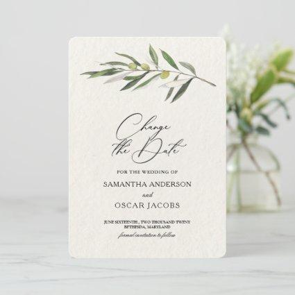 Simple Watercolor Olive Green Branch Save The Date
