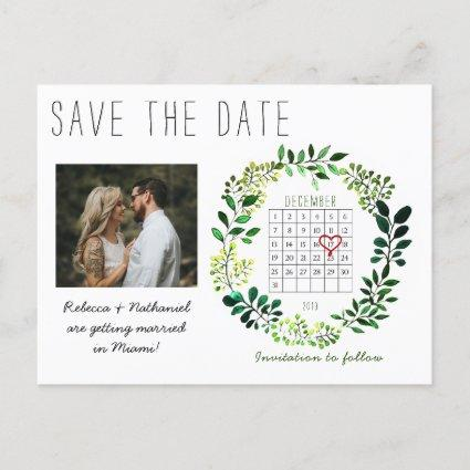Simple Watercolor Save the Date Calendar Heart Announcement