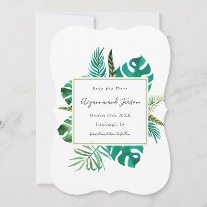 Simple Watercolor Tropical Leaves Wedding Save The Date