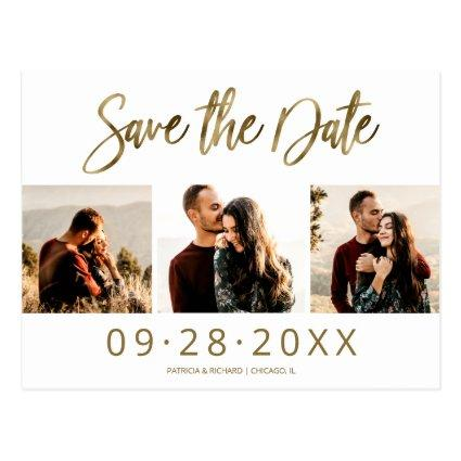 Simple Wedding Save The Date 3 Photo Collage