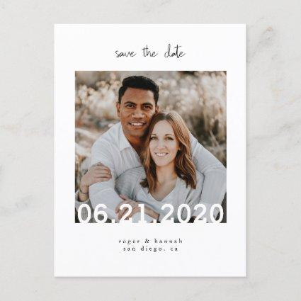 Simple White Save the Date Photo Announcement
