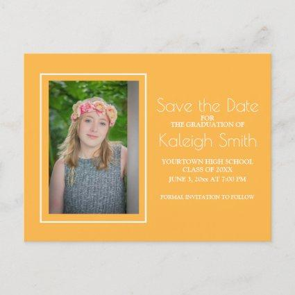 Simple Yellow White Graduation Save the Date Announcement