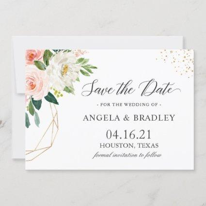 Simply Elegant Blush Pink Floral Gold Wedding Save The Date