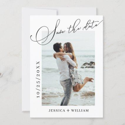 Simply Elegant Calligraphy Wedding Photo  Save The Date