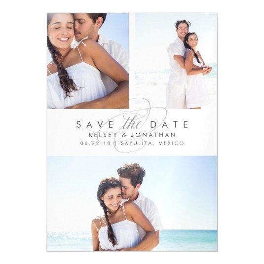 Simply Elegant Photo Collage Save the Date Magnetic Card