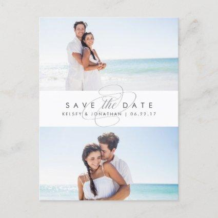 Simply Elegant Two Photo Save the Date Announcement