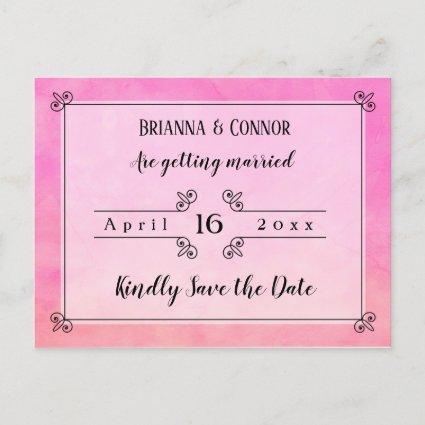 Simply Pink Chic Wedding Save the Date Announcements Cards