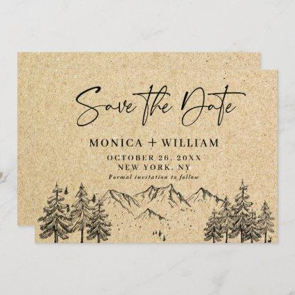 Simulated Kraft Paper Hand Drawn Mountain Wedding  Save The Date