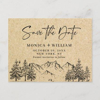 Simulated Kraft Paper Mountain Save the Date